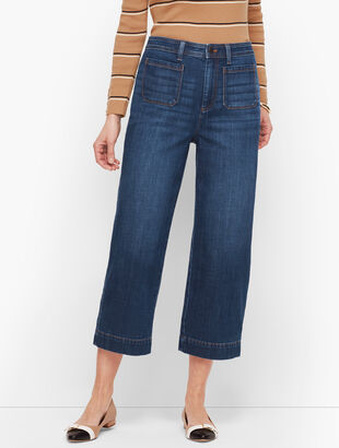 Wide Leg Crop Jeans - Comet Wash