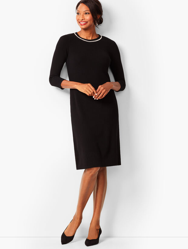 Diamanté-Trim Sweater Sheath Dress