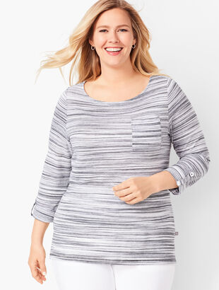 Textured Stripe Button-Tab Top