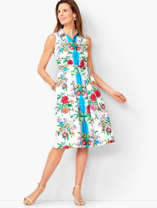 Blossoms Sateen Shirtdress