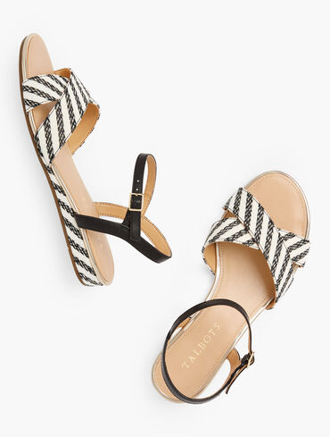 Daisy Micro Wedge Sandals - Stripe