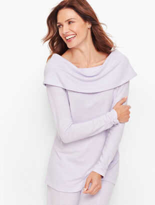 Brushed Mélange Ruched Sleeve Top