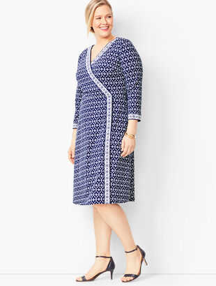 Knit Jersey Faux-Wrap Dress - Geo Print