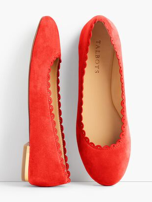 Penelope Scalloped Ballet Flats- Kid Suede