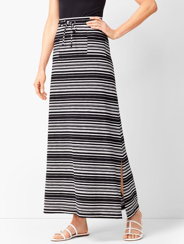 Patch-Pocket Stripe Maxi Skirt