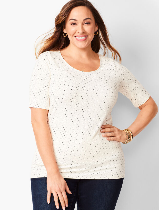 Platinum Jersey Scoop-Neck Top - Dot