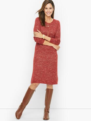 Pointelle Knit Shift Sweater Dress