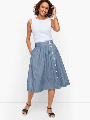 Denim Button Front Midi Skirt