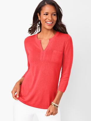 Linen-Blend Split-Neck Sweater