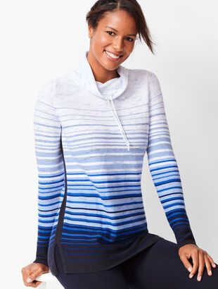 Drawstring Cowlneck Ombré-Stripe Top