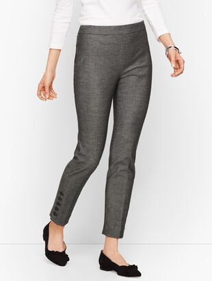 Talbots Chatham Button-Hem Ankle Pants - Sharkskin