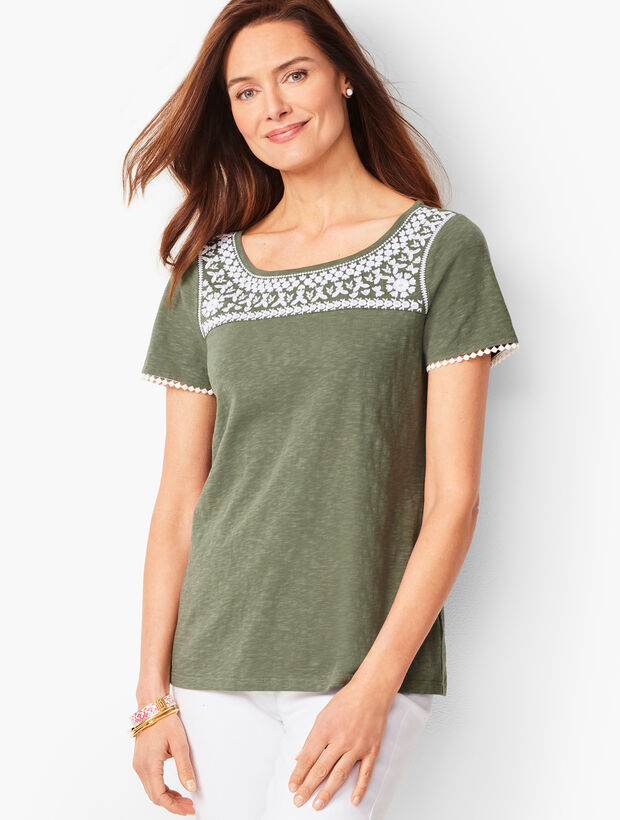 Embroidered-Trim Tee