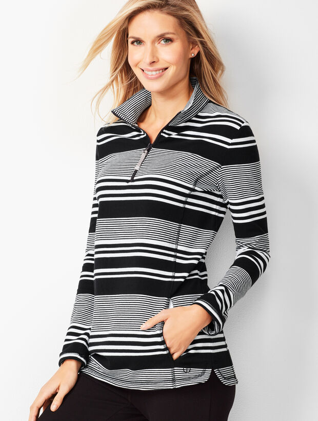 Mixed Stripe Terry Pullover