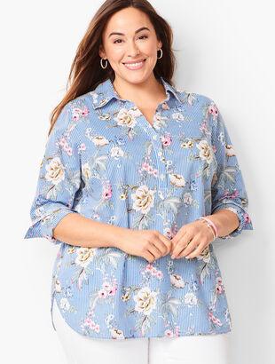 Cotton Floral-Stripe Popover
