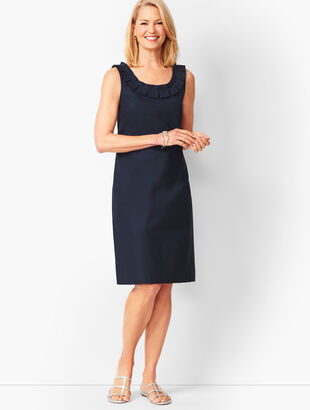 Pleat-Neck Sheath Dress - Solid