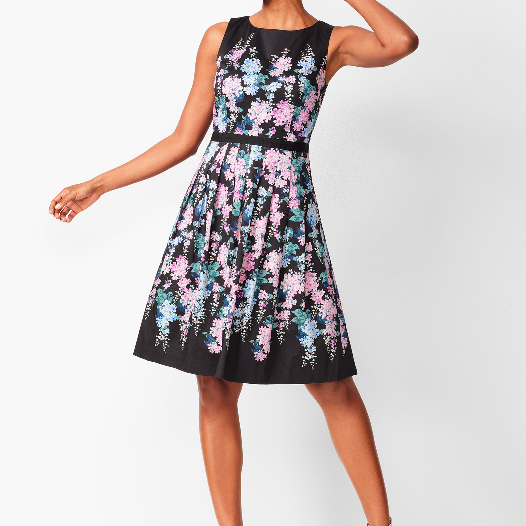 63e15722cf Floral Sateen Fit  amp  Flare Dress Opens a New Window.