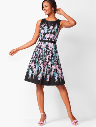 Floral Sateen Fit & Flare Dress