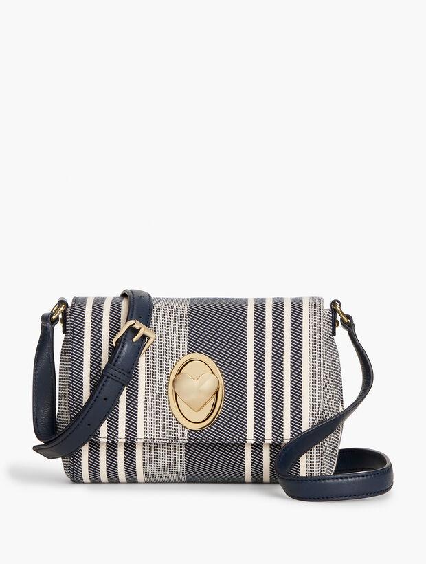 Stripe Heart Turnlock Crossbody Bag