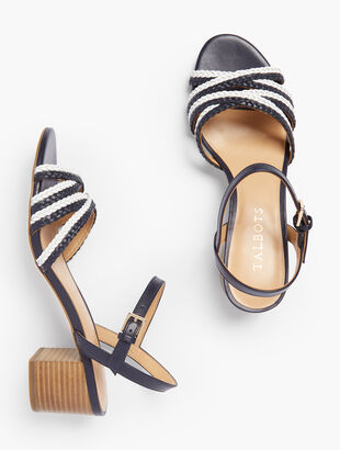 Mimi Braided Cross-Strap Sandals - Nappa Leather