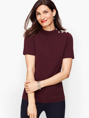 Mockneck Button Shoulder Sweater - Solid