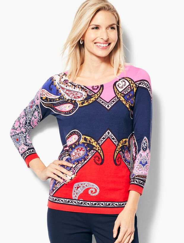Paisley Scoop-Neck Sweater