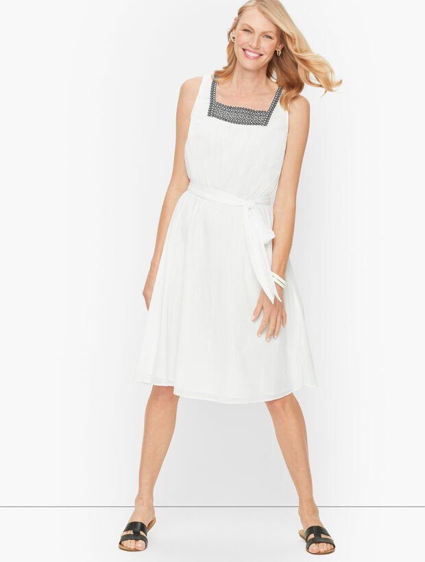 Cotton Gauze Fit & Flare Dress