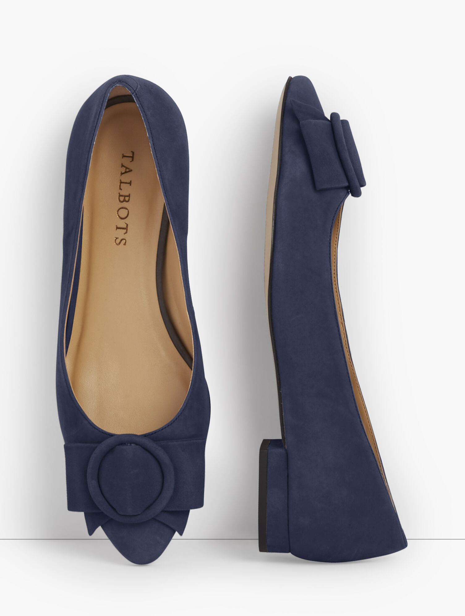 Edison Suede Bow Flats | Talbots