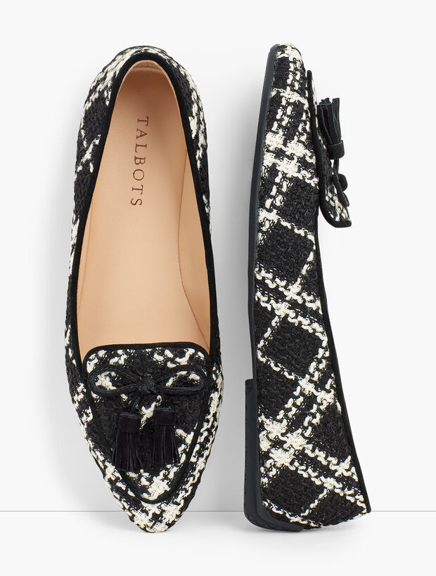 Francesca Tie Tassel Driving Moccasins - Plaid Tweed