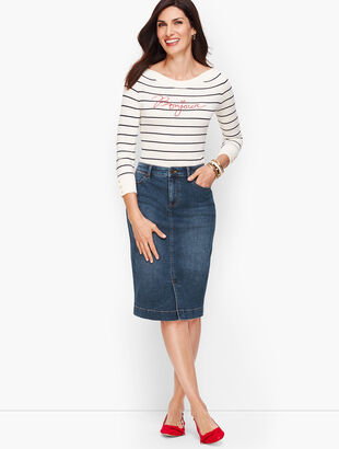 Denim Pencil Skirt - Taylor Wash