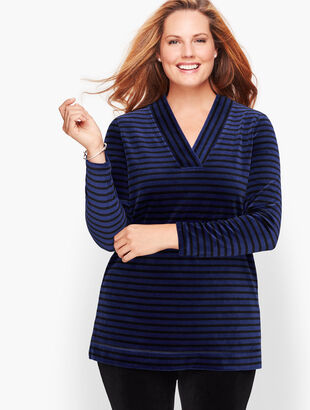 Luxe Velour Easy V-Neck Tunic - Stripe