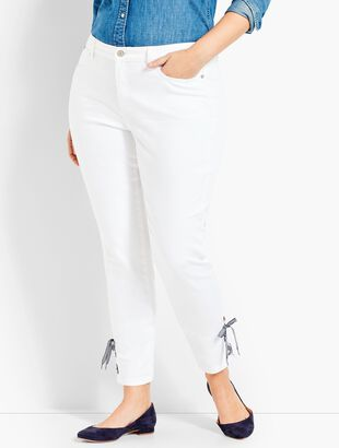 Gingham Lace-Up Denim Slim Ankle - White