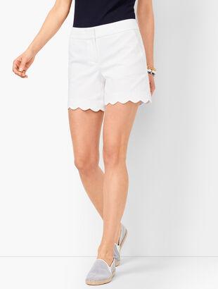 Textured Scallop-Hem Shorts - Honeycomb
