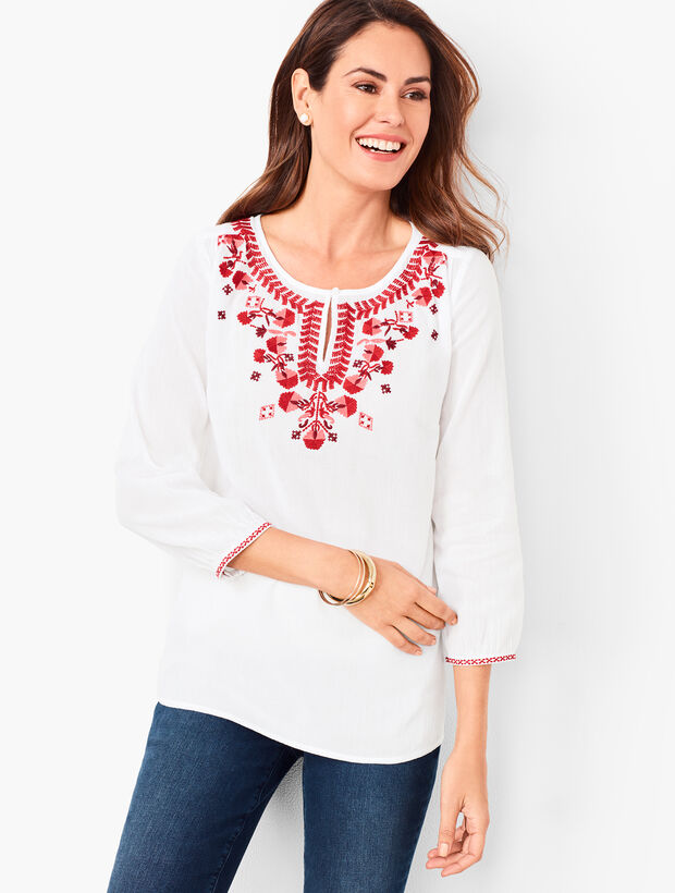 Embroidered Crinkle Gauze Popover