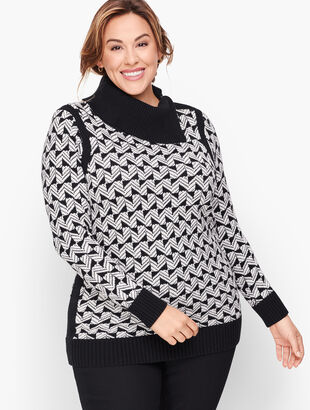 Geo Jacquard Split Neck Sweater