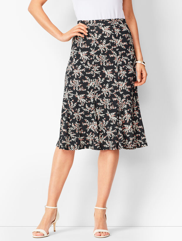 Floral Jersey Midi Skirt