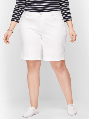 Plus Size Exclusive Girlfriend Denim Shorts - Curvy Fit - White