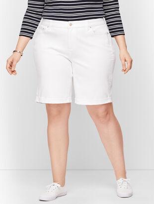 Plus Size Exclusive - Girlfriend Denim Shorts - White