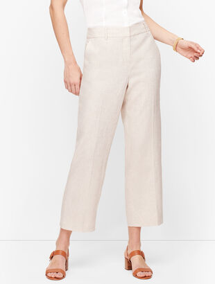 Linen Straight Leg Crop Pants - Curvy Fit
