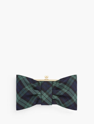Black Watch Plaid Bow Clutch