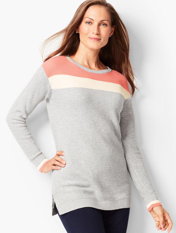 Colorblock Crewneck Textured Sweater