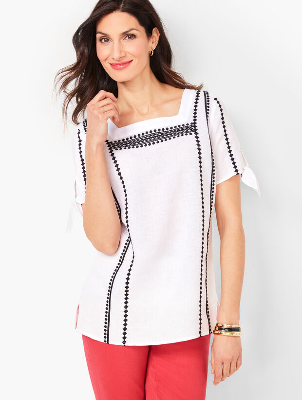 Square-Neck Embroidered Linen Top - Piece Dyed