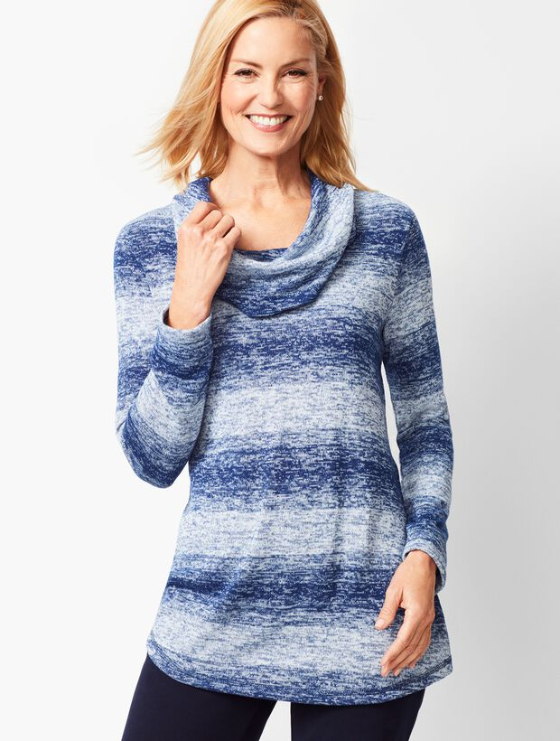 Ombre Stripe Cowlneck Top
