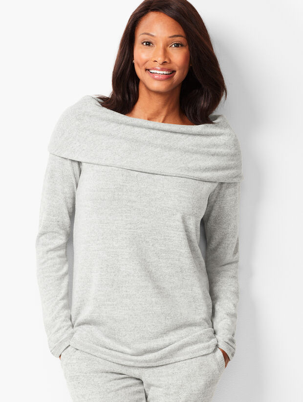 Brushed Melange Off-The-Shoulder Top