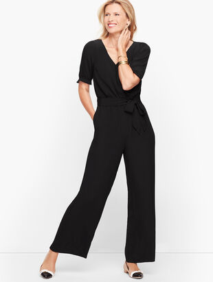V-Neck Jumpsuit - Solid
