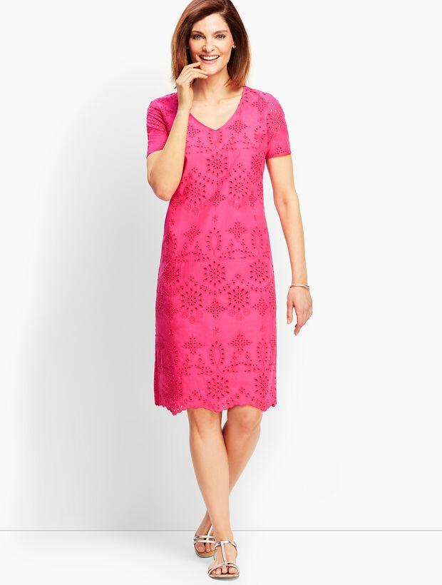 Embroidered Scallop-Hem Floral Eyelet Shift Dress