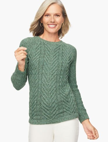 Cotton Marl Cable Knit Pullover