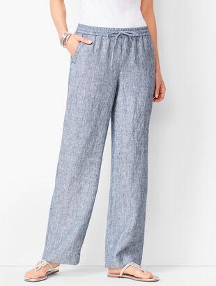 Washed Linen Wide-Leg Pants - Stripe
