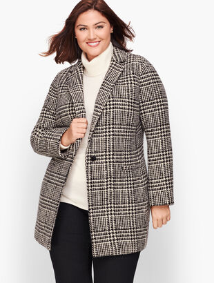 Plus Size Long Boiled Wool Jacket - Plaid