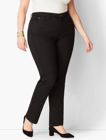 Plus Size High-Waist Straight-Leg Jeans - Curvy Fit - Black