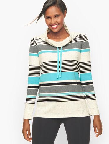 Stripe Cowlneck High-Low Pullover